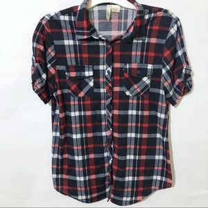 Bella D Short Sleeve Plaid Button Up Shirt